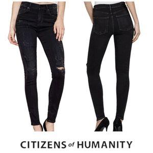 COH Rocket High Rise Skinny Distressed Black Jeans